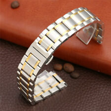 Silver Gold Two-Tone Stainless Steel Watch Band 20mm Wrist Strap Replacement