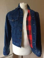 Denim Jacket Mens With Lumberjack Flannel Lining Size S-M