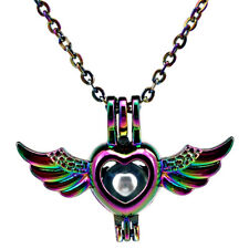 "C650 Rainbow Color Heart Wing Pearl Cage Locket Pendant 18"" Steel Chain"