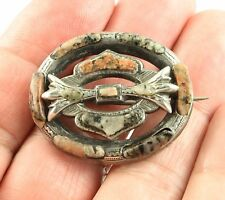 Antique Victorian circa1890 sterling silver Scottish agate granite brooch pin