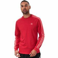 Men's adidas Originals 3 Stripe Long Sleeve T-Shirt in Red