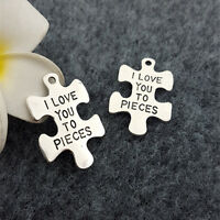 10PCS Puzzle Alloy Beads Charms Pendent DIY Necklace Jewelry Making 34*23mm