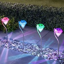 6 x Colour Changing Led Garden Diamond Stake Lights Solar Powered Border Lantern