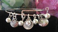 Sea shells & pearls /Ocean - Silver charm Expandable Bangle Bracelet