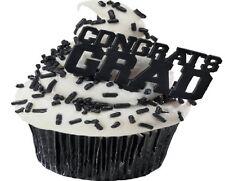 BLACK GRADUATION Congrats Grad CAP Hat 12 Party Cupcake Topper Decors Pics Picks
