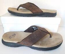 GOTCHA Flip Flops Brown Leather Strap Men Sz 8M