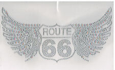 Route 66 wing Rhinestone IRON ON TRANSFER DIY Hot Fix Applique Rhinestud