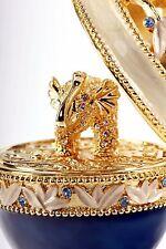 Keren Kopal Bejeweled Blue&Gold Egg Trinket Box  w Gold Elephant (4.8x2.5x2.5)