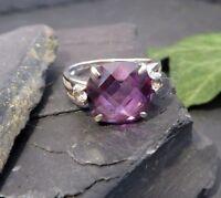 Exclusiver 925 Silber Ring Lascono Designer Lila Violetter Stein Zirkonia Edel