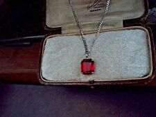 Vintage Jewellery Ruby Red Emerald Cut Crystal Necklace 12 x 10mm