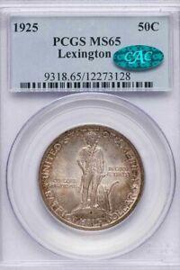 1925 Lexington 50c PCGS MS 65 & CAC Approved, Classic Commem., Toned original