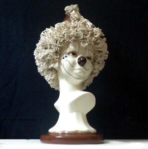 "Original One Only Highly Detailed Rare Clown Ceramic Bust Sculpture Artist ""DW"""