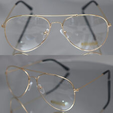Aviator Driving Designer Mens Womens Glasses Retro Metal Gold Frame Clear Lens
