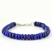 FINEST QUALITY 143.90 CTS NATURAL AAA RICH BLUE LAPIS LAZULI BEADS BRACELET (RS)