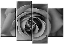 "LARGE BLACK & WHITE FLORAL ROSE CANVAS ART PICTURE 40"""