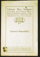 """America's Responsibility"":Liberty Day Address Pittsburgh, Pa. 1917 pamphlet"