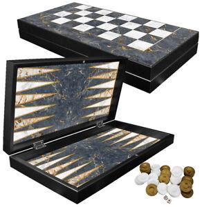 DELUXE Holz Backgammon Schach Tavla Set GREY MARBLE im XXL Format 48x48,7 cm