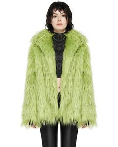 Punk Rave Womens Cyberpunk Winter Coat Jacket Lime Green Faux Fur Cyber Gothic