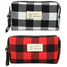 Plaid Print Everyday Cosmetic Bag Pouch USA SELLER