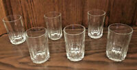 VINTAGE Libbey Crisa Clear Glass 12 oz Tumblers Vertical Ridge Set of 6
