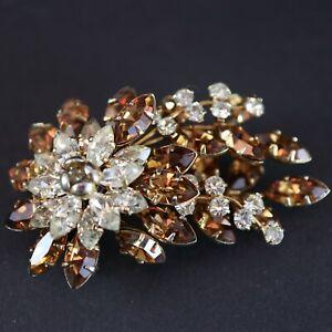 Donald Simpson Brooch Cognac Madiera Crystal Rhinestones Jewel Crest
