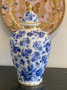 Thomas Bavaria Thomas Ivory Blue and White Porcelain Lidded Ginger Jar Urn