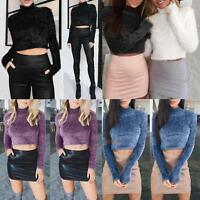 Sexy Womens Winter Casual Jumper Long Sleeve Pullover Crop Tops Knitted Sweater