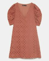 ZARA WOMAN NWT SALE! PERFORATED DRESS WITH EMBROIDERY PINK SIZE M REF: 0387/162