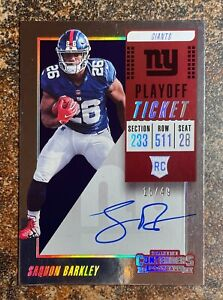 Saquon Barkley 2018 Panini Contenders Playoff Ticket Rookie Auto /49