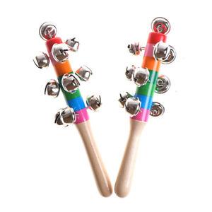 Wooden Stick Rainbow Hand Shake Bell Rattles Baby Kids Children Educational ^lk