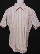 GOLDEN VEE Vtg Late 1960s Mens Casual/Dress Shirt Sz 16 Large Striped Mod Retro