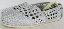 Toms Womens Woven Classics Slip On Alpargata Flat Shoes, Silver Satin, US 10