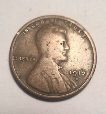 1912-S Lincoln Wheat Cent Penny Coin - San Francisco Mint - Rare Key Date!