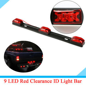 9 LED Red ID Light Bar Tail Warning Indicator Lamp Waterproof For Pickup Trailer