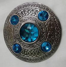 Mens Kilt Fly Plaid Brooch Sky Blue Stone Antique/Ladies Celtic Brooches/Shawl