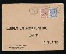 GB KG5 1931 to FINLAND 2 1/2d + 1 1/2d FOY MORGAN PERFINS + ENVELOPE