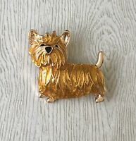 Adorable  dog brooch enamel gold tone metal