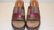 Women's Candie's Brown Leather Wedge Slide Sandals US Size 6 EUR 37
