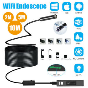 8 LED WIFI Endoscope HD 1200P 8MM Borescope Inspection Camera For iPhone Android