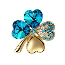 Elegant Gold & Ink Blue 4 Leaf-Clover Jewellery Brooch Pin BR294