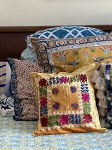 Handcrafted Russian Embroidery On Velvet -Square Pillow Sham New W/ Tags