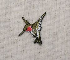Small/MINI LEFT Hummingbird/Ruby Red Throat - Iron on Applique/Embroidered Patch