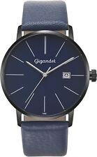 Gigandet Herrenuhr Minimalism Uhr Armbanduhr Leder Blau Schwarz G42-010
