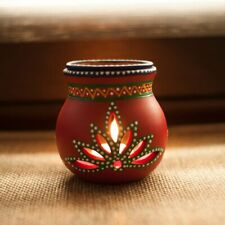 Terracotta Handpainted Aroma Diffuser in Red - Oil Burner Candle Stand