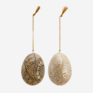 Hanging Painted Easter Egg Tree Decoration, Papier Mache Black or Silver Indian