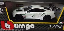 BBURAGO BENTLEY CONTINENTAL GT3 #7 1/24 DIECAST MODEL CAR WHITE 18-28008WH