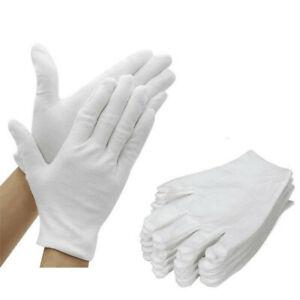 AKORD 12 Pairs 100% Cotton White Moisturising Lining Gloves