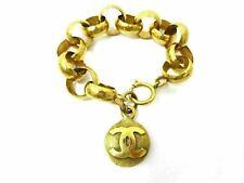 Auth Excellent CHANEL Thick Chain Bracelet CC Mark 29 Gold Tone Vintage 55251