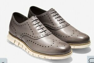 NEW Cole Haan Zerogrand Leather Wingtip Shoes 11.5 M Gray/Ivory $190