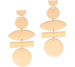 Susan Graver Gold-tone Geometric Dangle Bullet Disc Earrings QVC